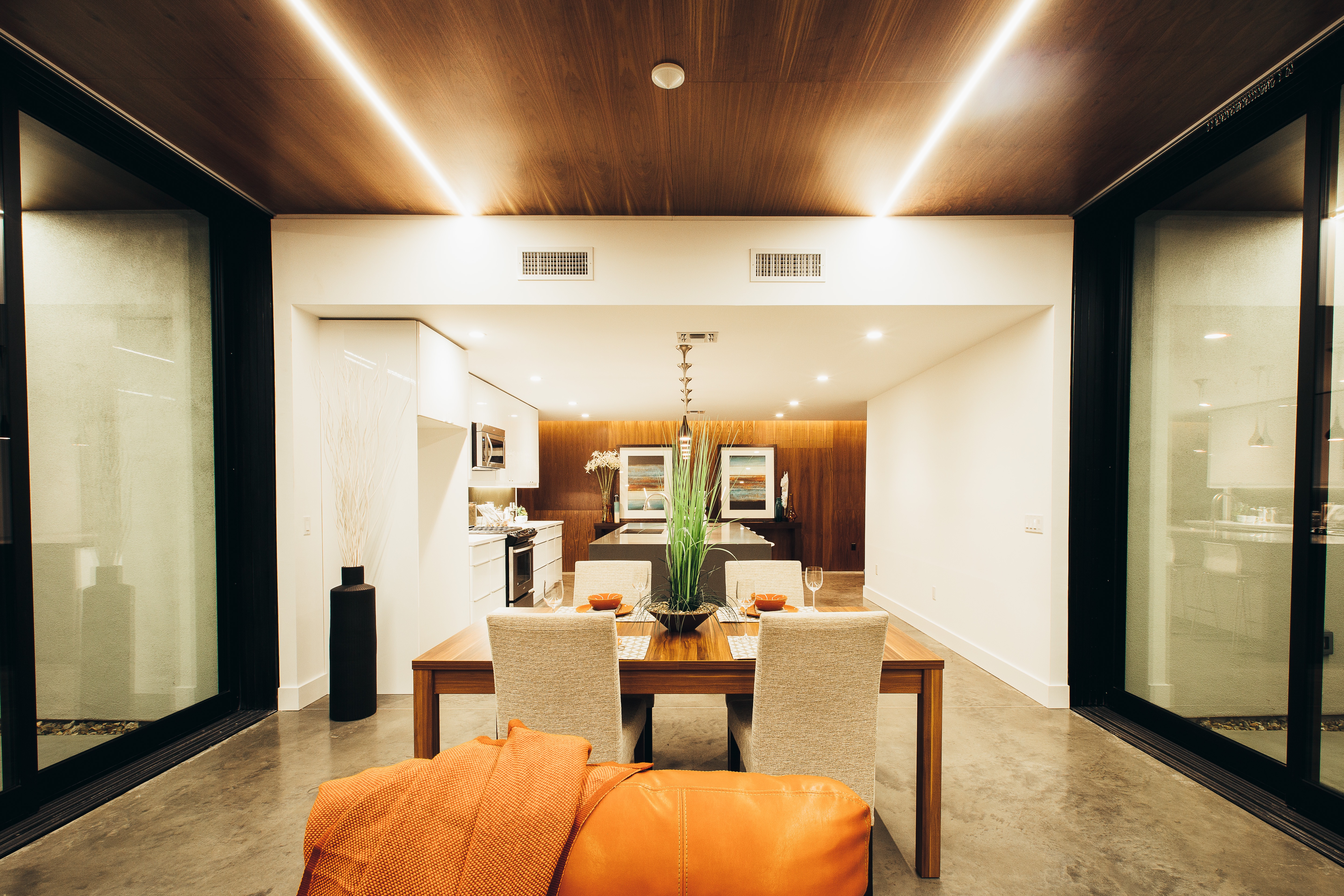 Modern Wood Ceiling With Warm LED Lighting (View 20 of 31)