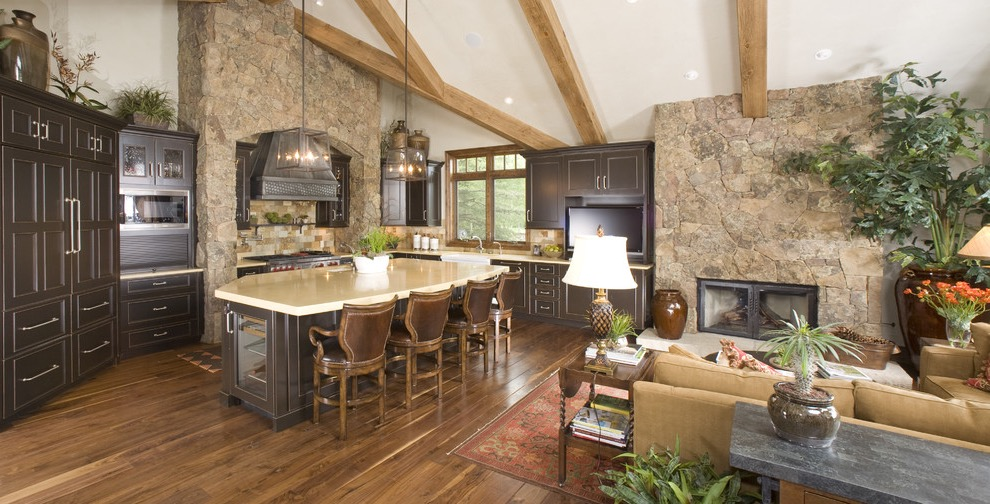 Rustic Living Room And Kitchen Interior Combo (View 15 of 20)
