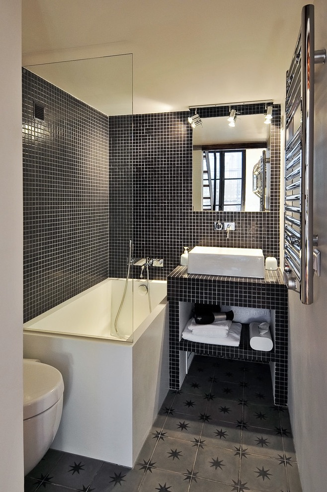 Small Bathroom Makeover To Modern Design With Mosaic Tile (Image 8 of 17)