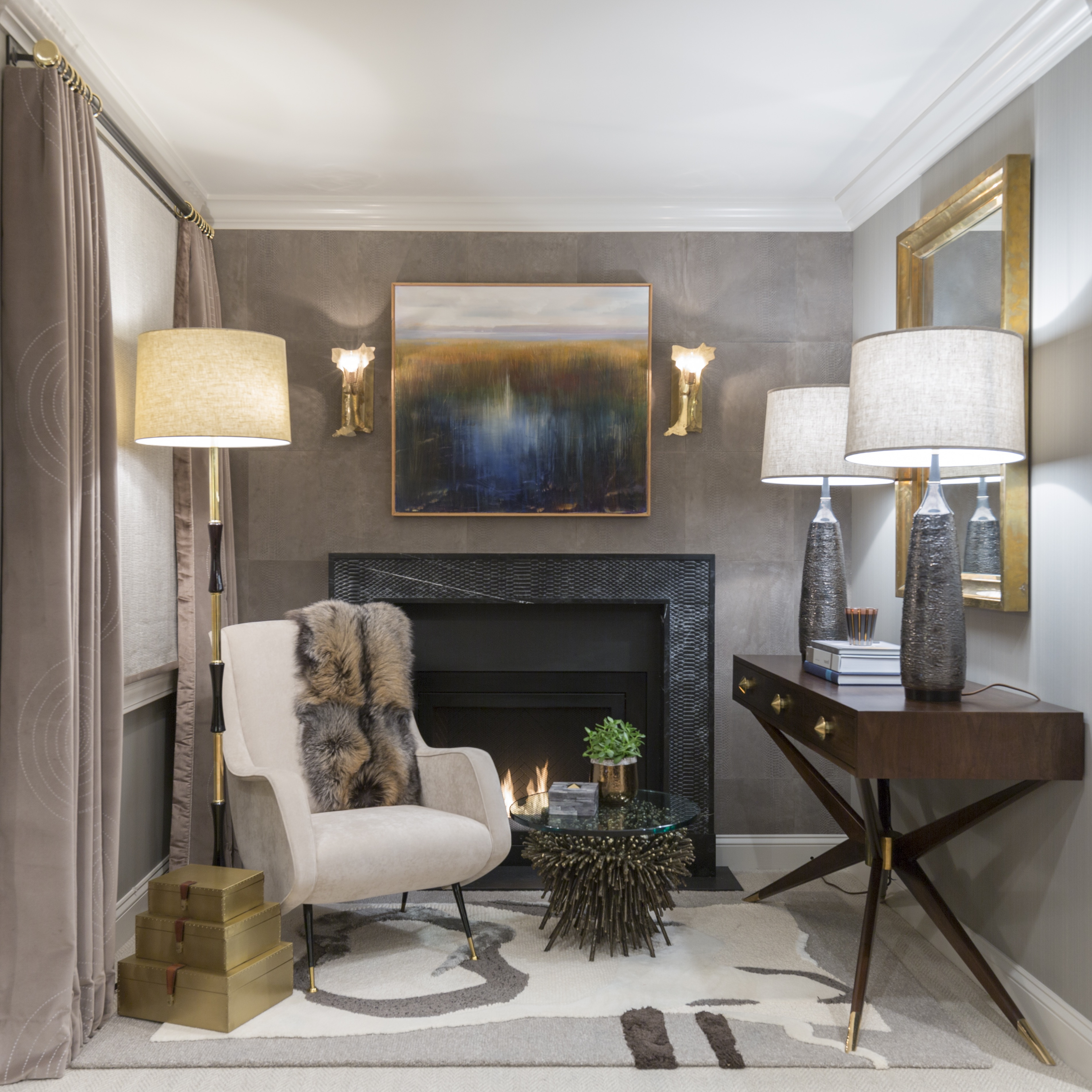 Small Elegant Ethnical Sitting Room With Fireplace (Image 13 of 15)