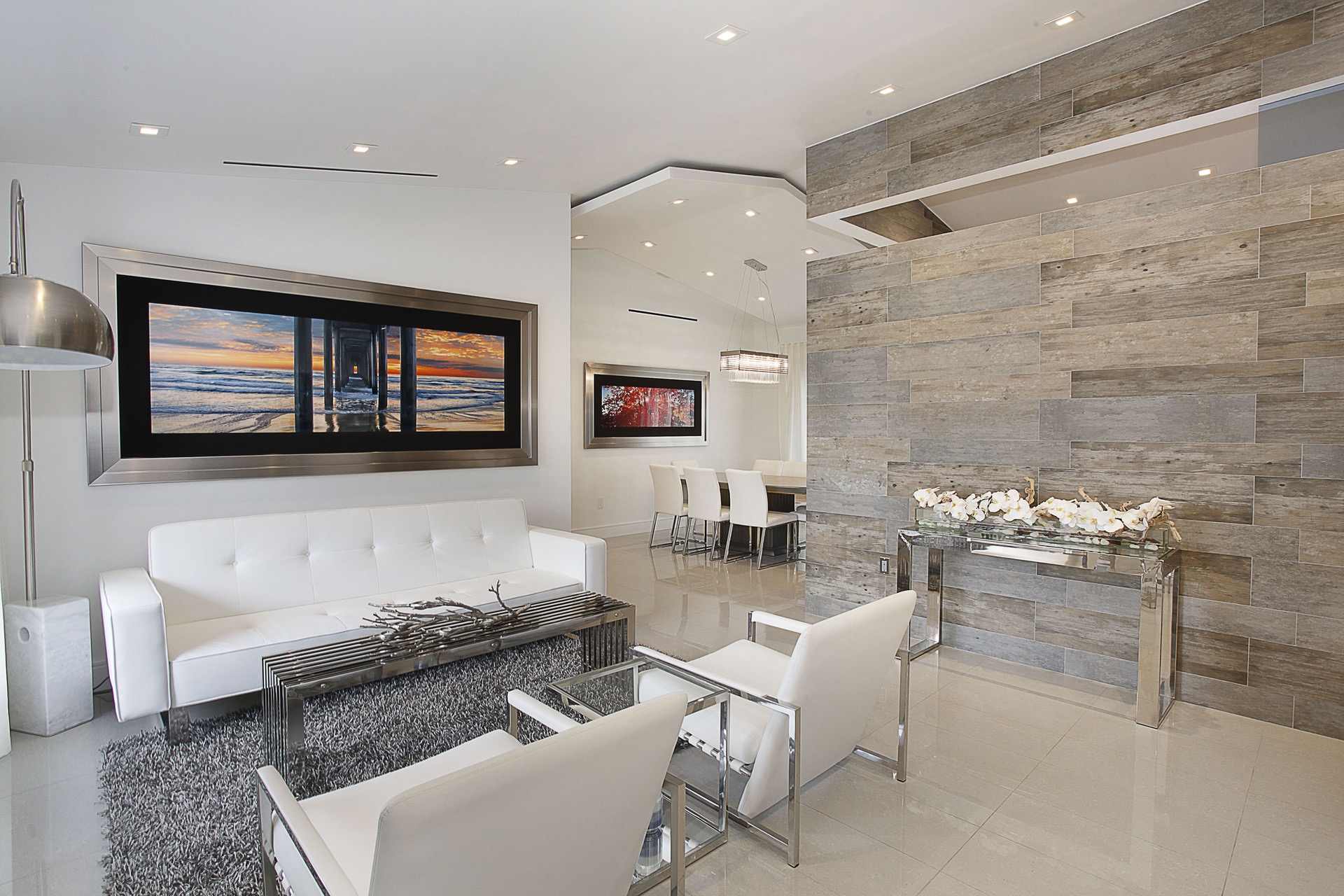 Stunning White Contemporary Living Room (Image 30 of 31)