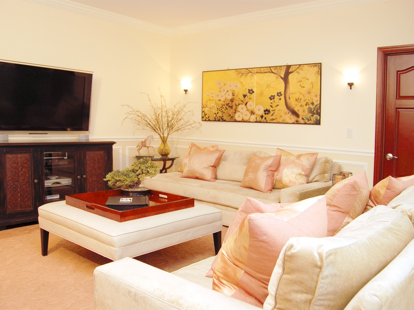 Stylish Oriental Themed Living Room Features Beautiful Artwork, Light Toned Furniture And Entertainment Area (Image 20 of 20)