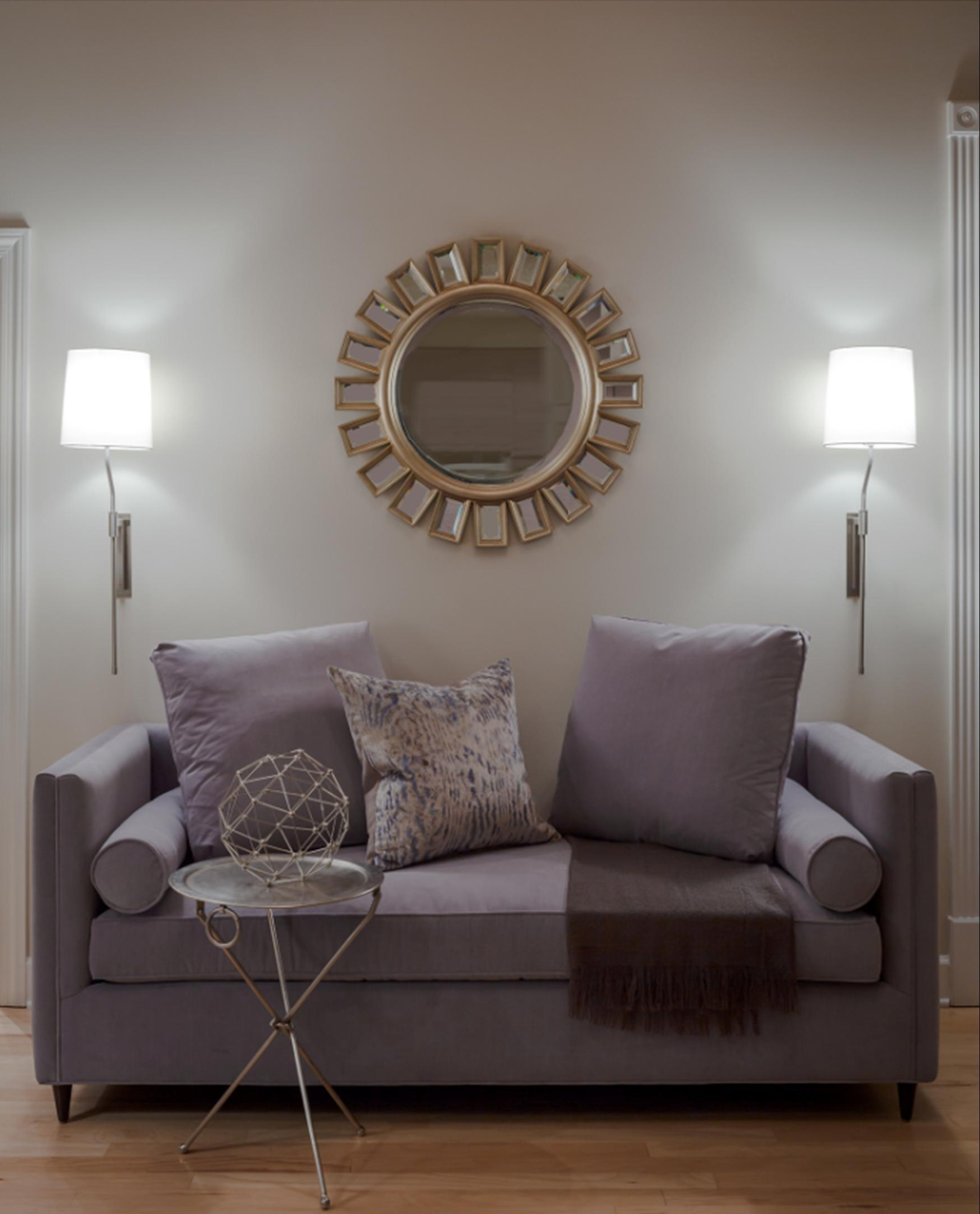 Unique Small Metal Table, Art Deco Mirror And Purple Sofa For Trendy Living Room (View 11 of 25)