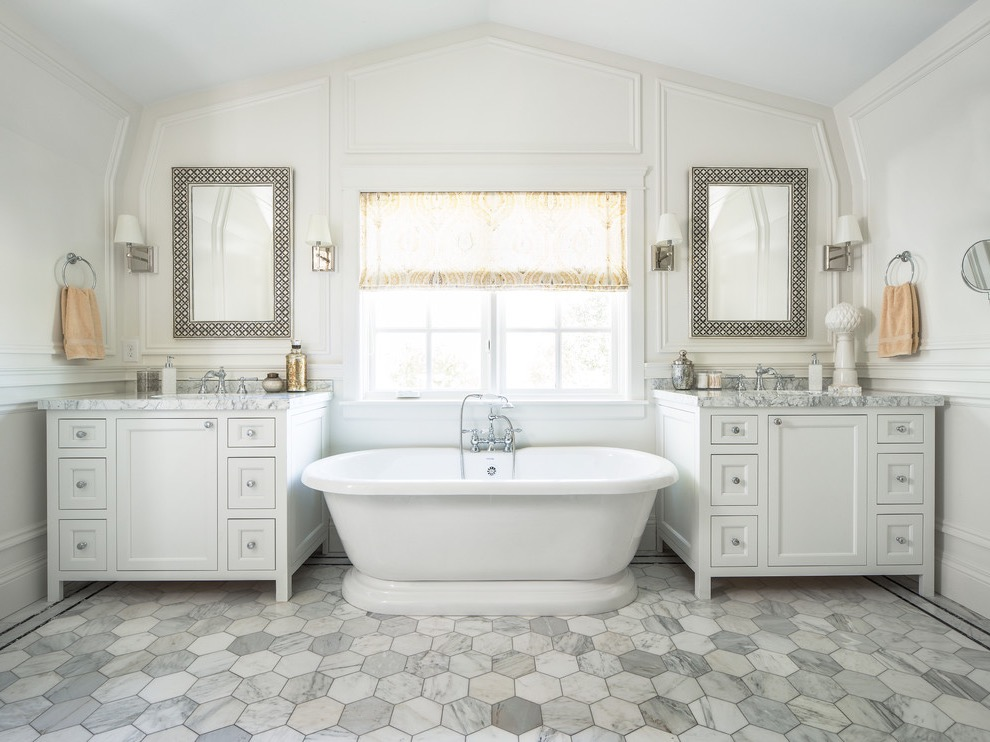 White Retro Bathroom Style With With Shaker Cabinets (Image 20 of 20)