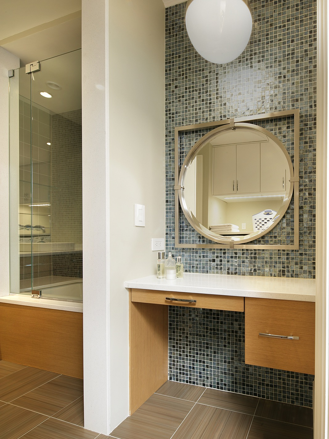 Bathroom Vanity And Mosaic Glass Tile Wall (View 4 of 21)