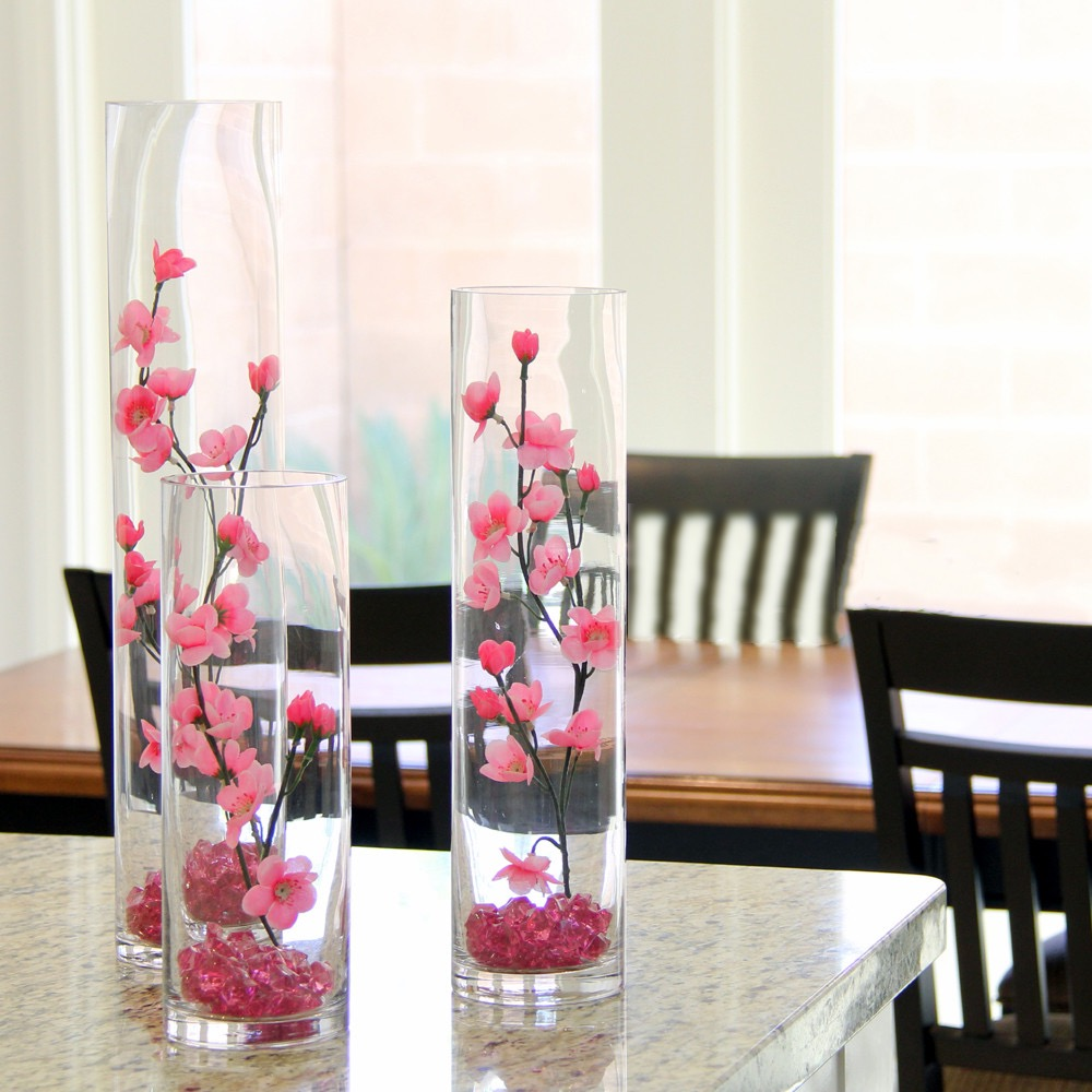 Cherry Blossom Wedding Centerpiece With Fuchsia Floral Vase For Wedding Table (Image 6 of 35)
