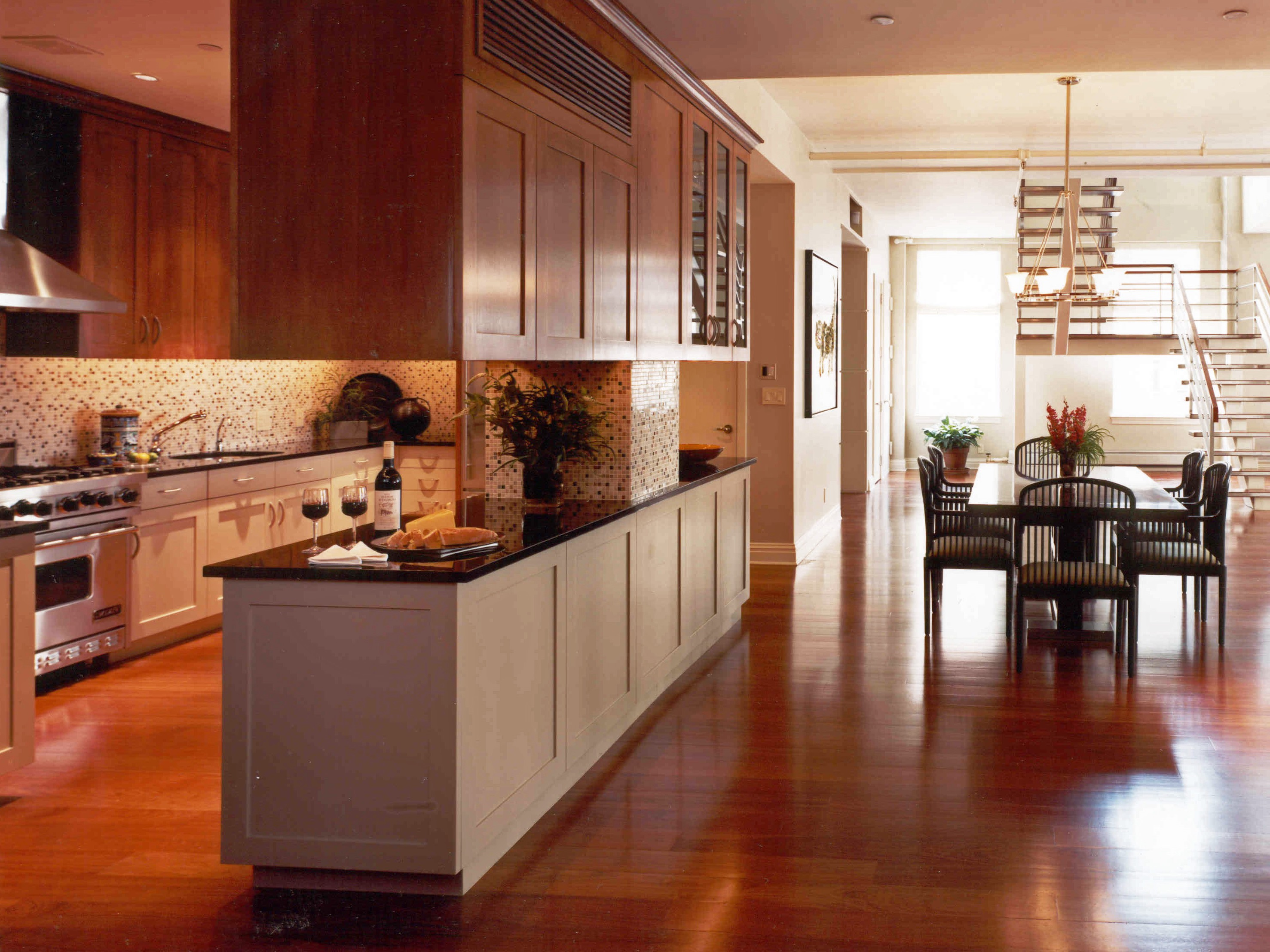 Contemporary Long And Narrow Kitchen And Dining Room Combination (Image 2 of 10)