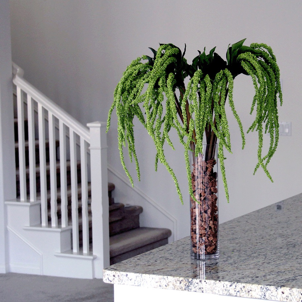 Little Palm Tree Amaranthus Centerpiece For Wedding (Image 23 of 35)