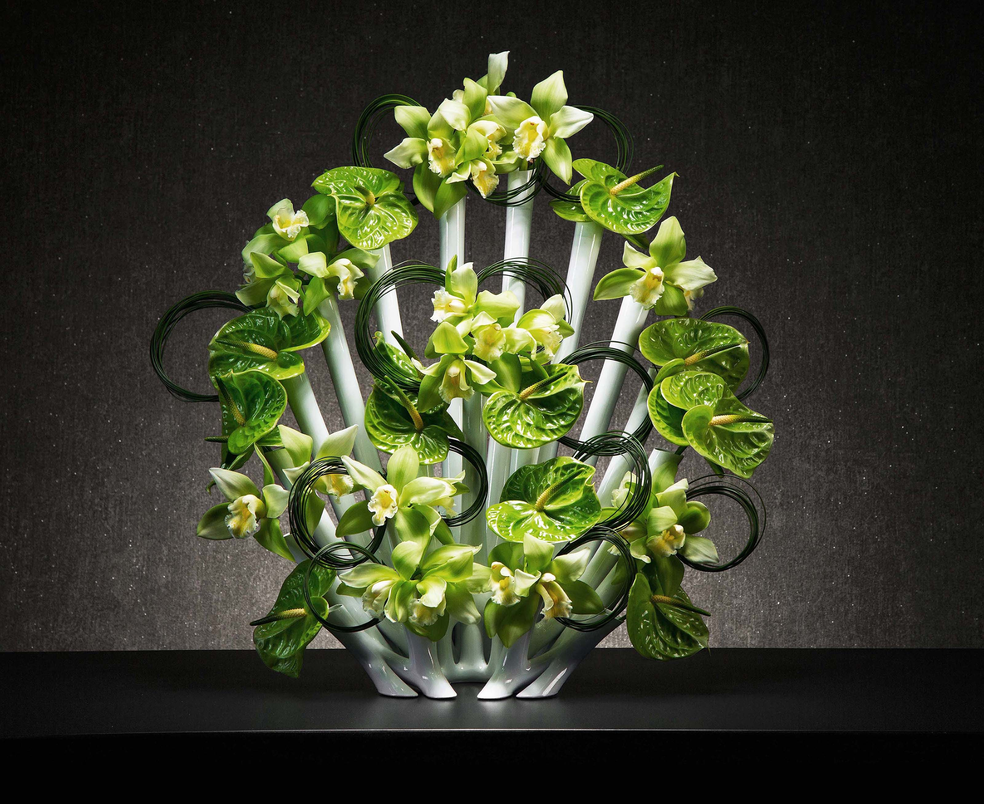 Peacock Tube Filled Green Flower Vase Centerpiece (Image 8 of 15)