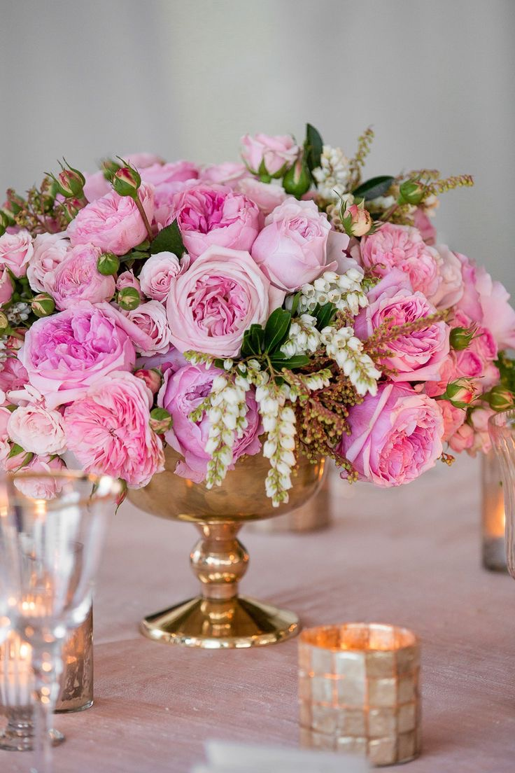Pink Rose On Gold Vase For Summer Wedding Centerpiece (Image 10 of 20)