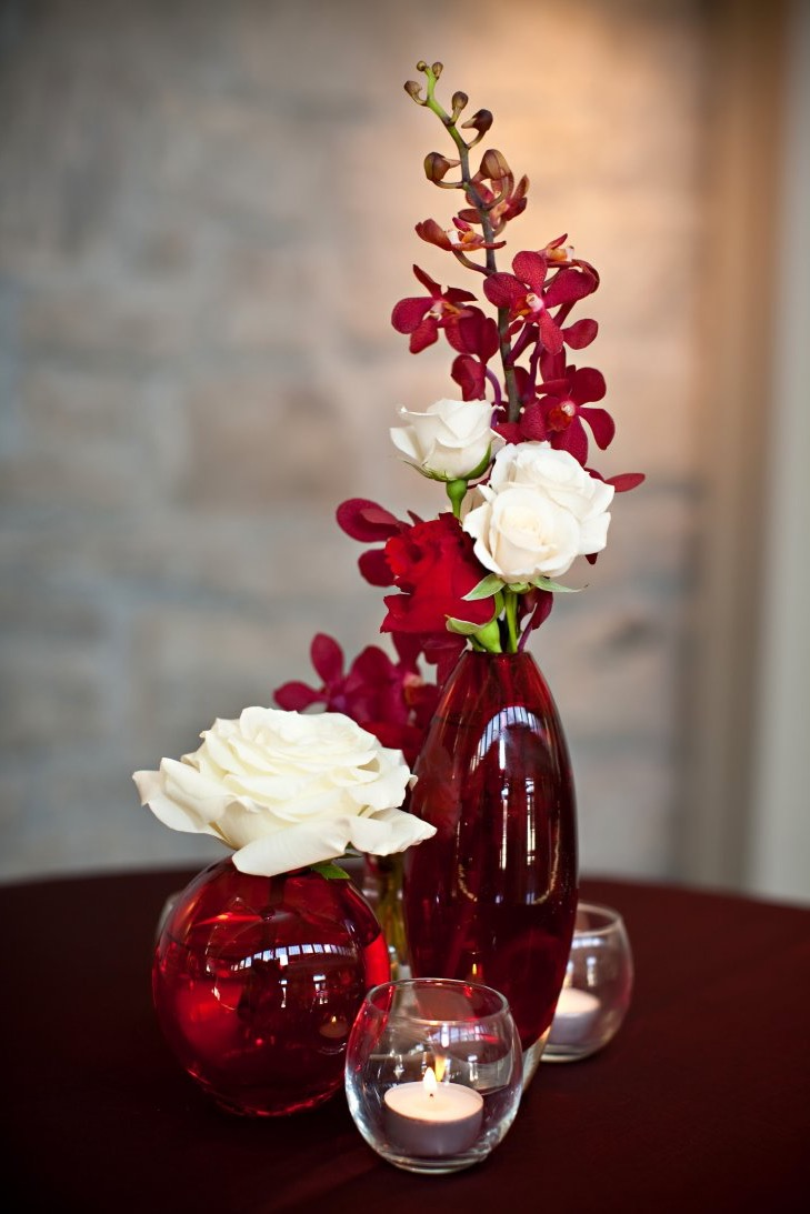 Red And White Orchid And Rose Centerpieces For Wedding Table (Image 7 of 15)