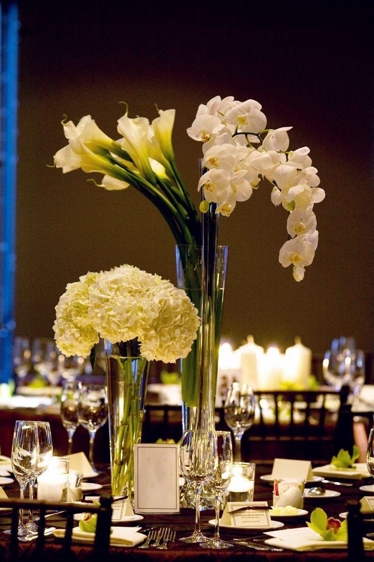 Romantic Tall Orchid And Calla Lilies Centerpiece (View 9 of 30)