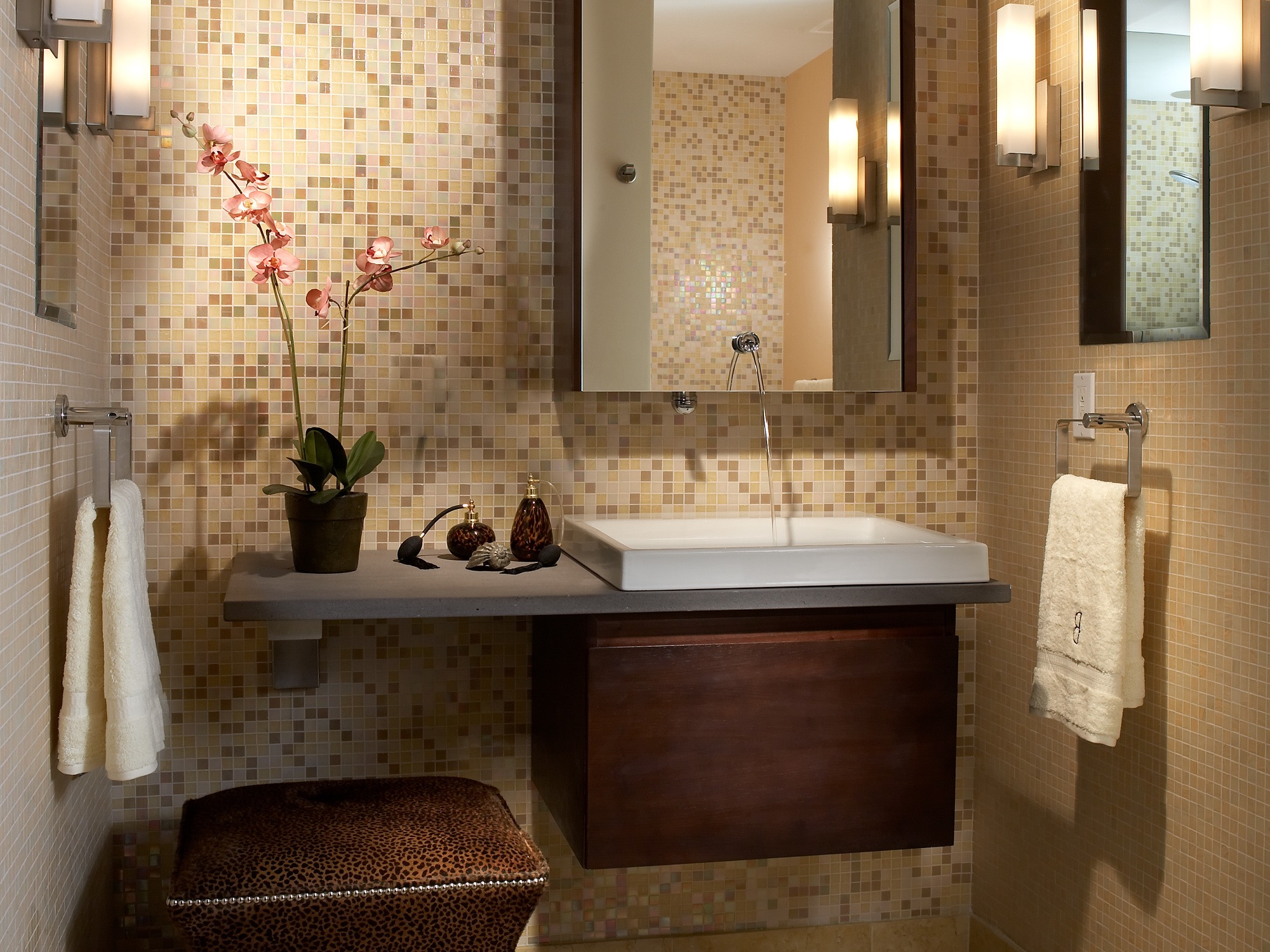 Serene Small Bathroom With Mosaic Tile Wall (View 17 of 21)