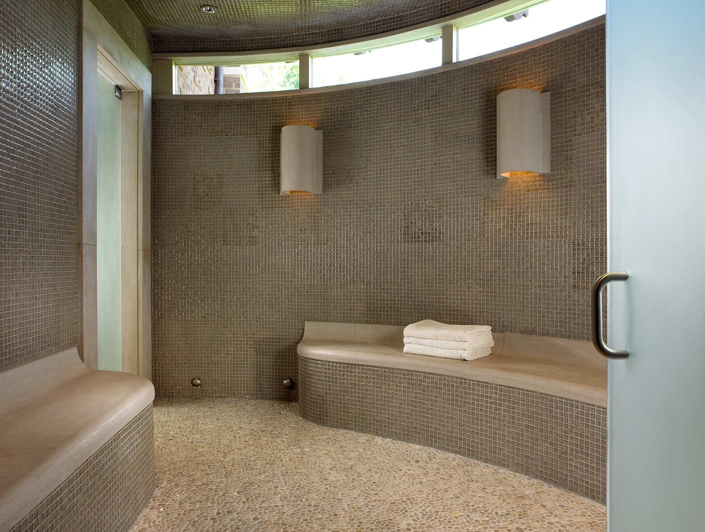 Sleek Sauna Bathroom With Brown Mosaic Tile Wall (View 15 of 21)