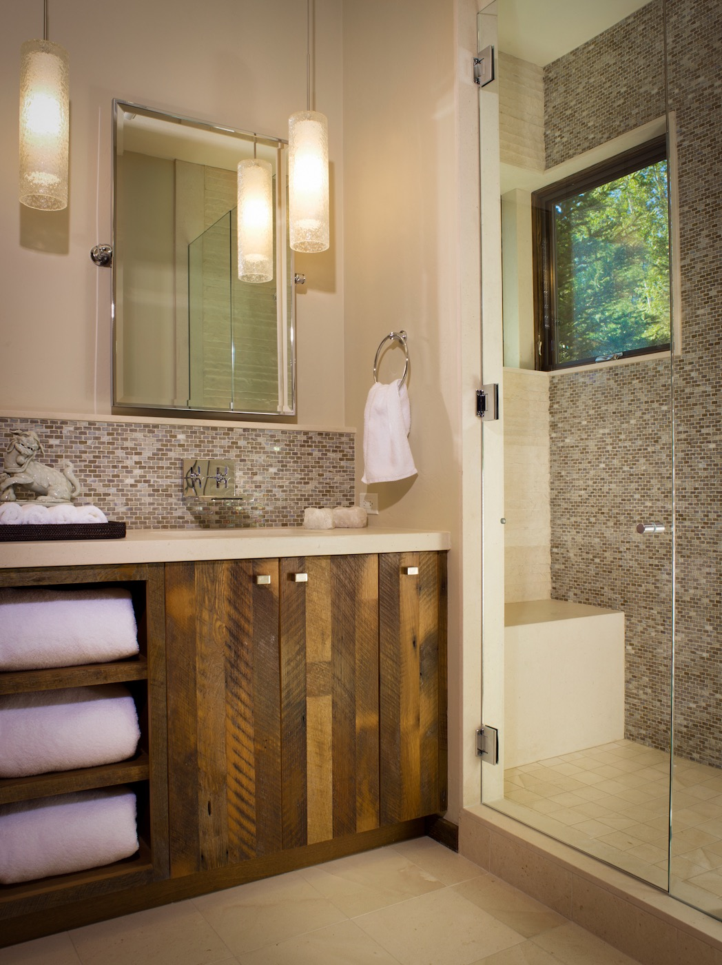 Walk In Shower Features Beautiful Mosaic Tile Wall (View 19 of 21)