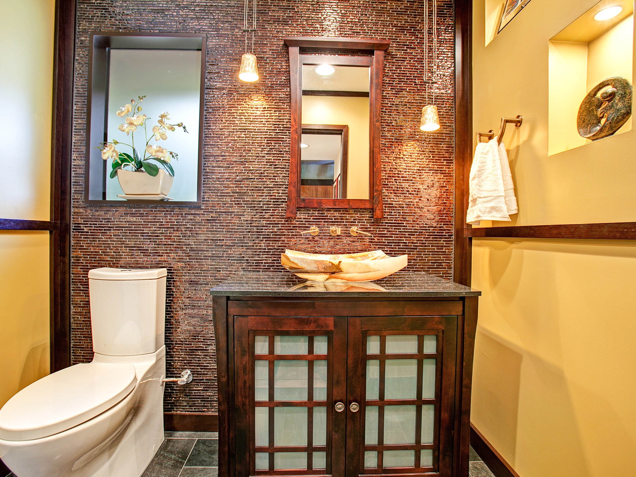 Yellow Asian Bathroom With Brown Mosaic Tile Wall (Photo 21 of 21)