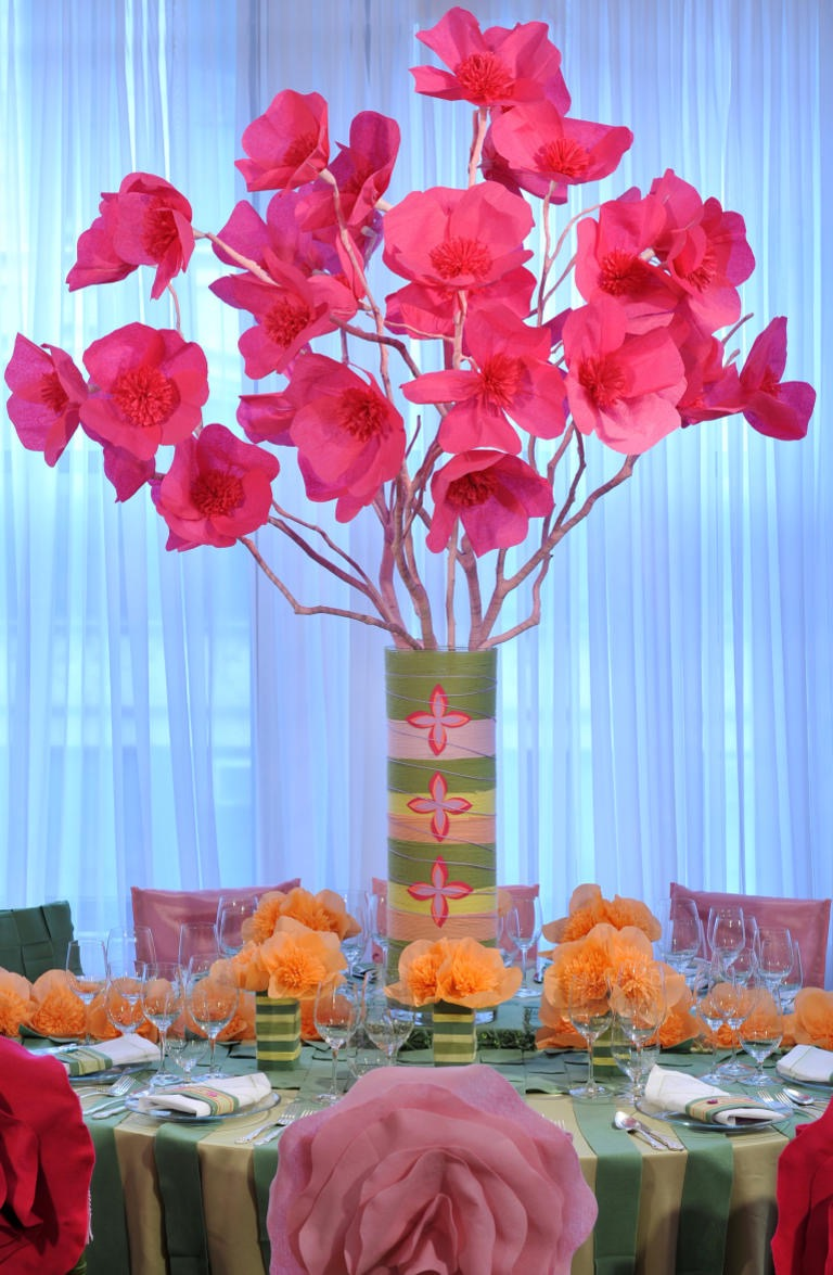 Beautiful Tall Pink Paper Flower Wedding Reception Centerpiece (Image 1 of 30)
