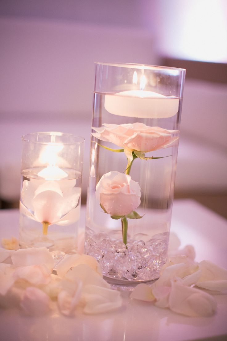 Beauty Submerging Flowers In Water Centerpiece For Wedding Table (Image 3 of 10)