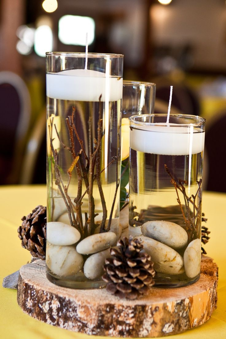 Candle Centerpiece With Rock For Wedding Decoration (Image 5 of 35)