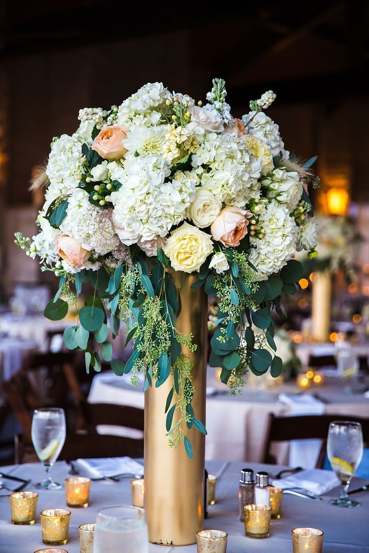 Centerpieces For Wedding Reception Tall Flower With Gold Vase (View 16 of 30)