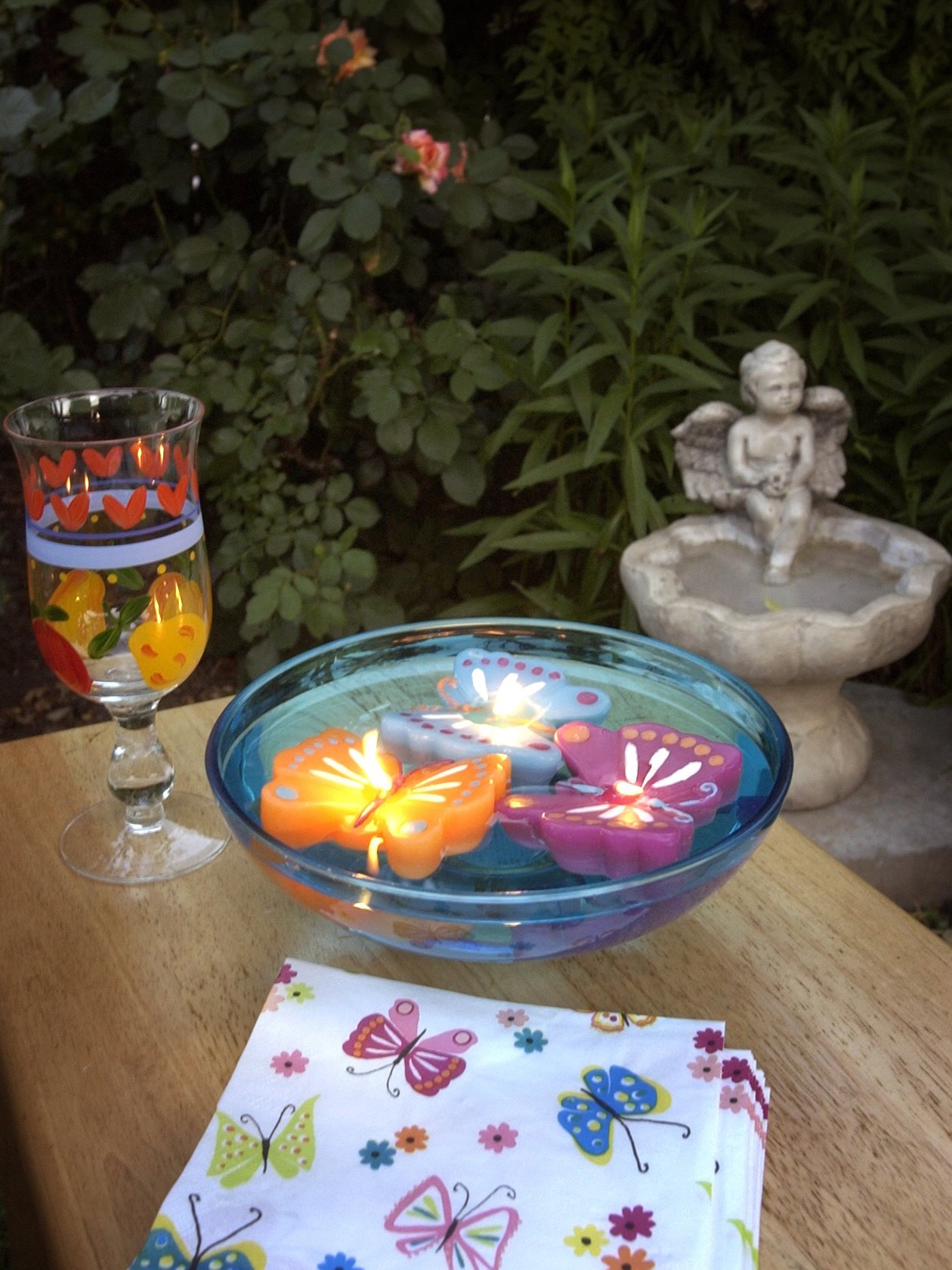 Colorful Floating Butterfly Shaped Candles Centerpiece (Image 3 of 20)