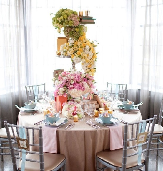 Colorful Flower Tall Centerpieces Wedding Decor For Round Table (Image 6 of 30)