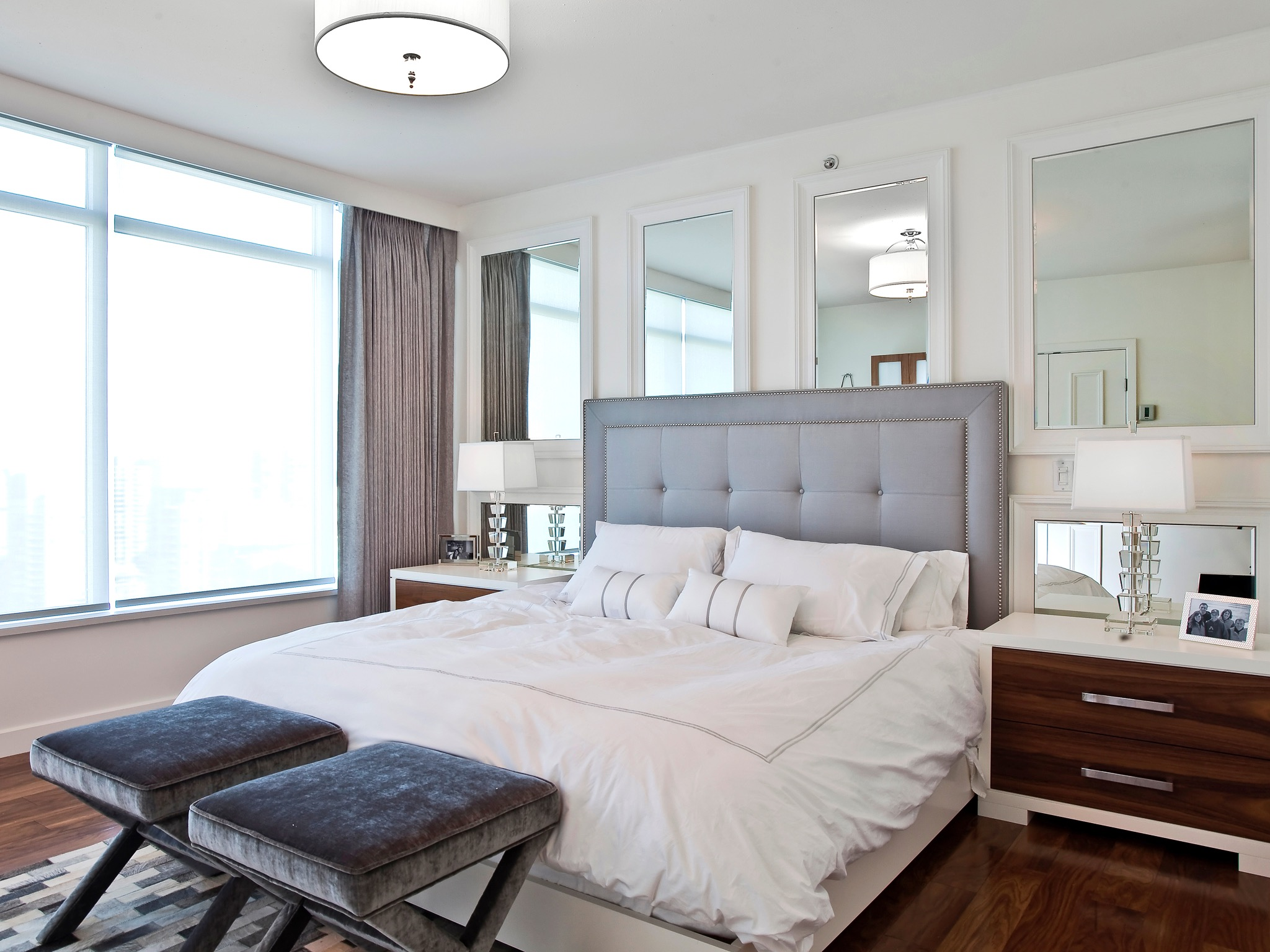Contemporary Bedroom Covered Wall Of Framed Mirrors (Photo 5 of 20)