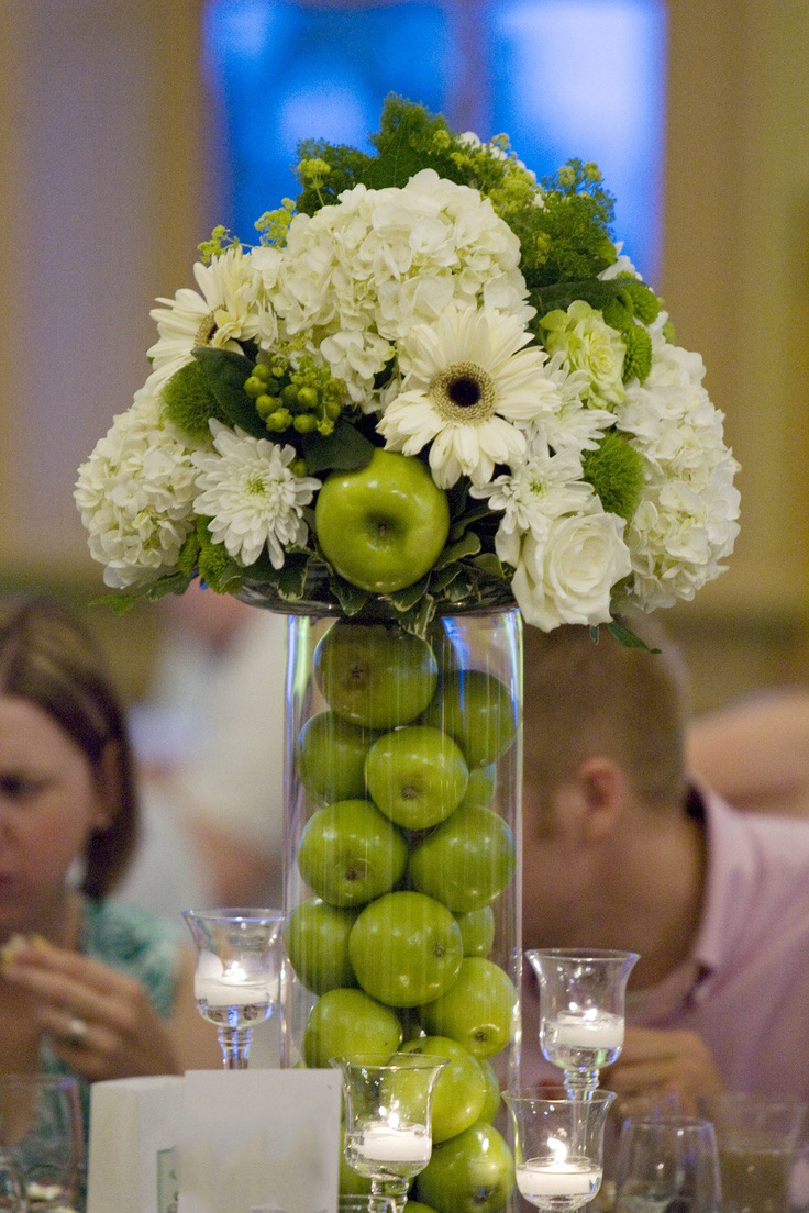 Cylinder Glass Vase With Green Apple Centerpiece (Image 3 of 15)
