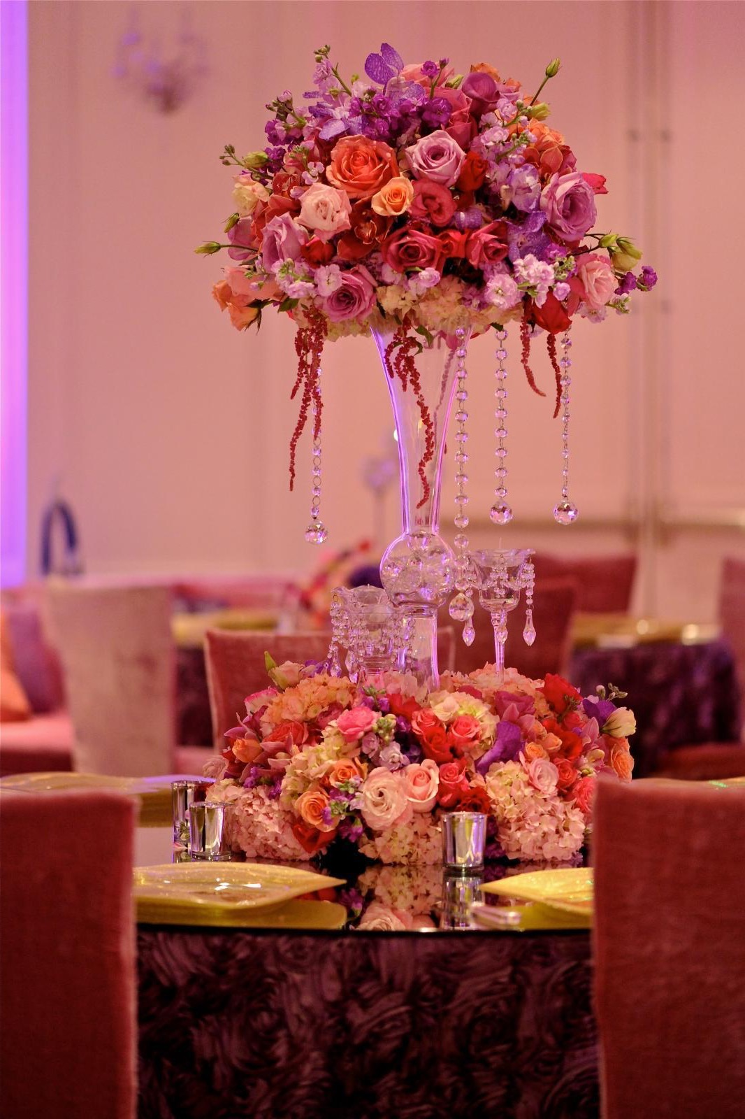 Deluxe Purple Rose Flower Arrangements With Crystals Centerpieces For Ballroom Wedding (View 6 of 30)