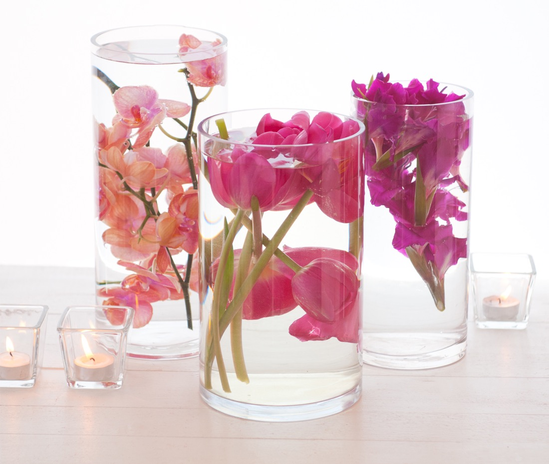 Exotic submerged flower wedding centerpieces