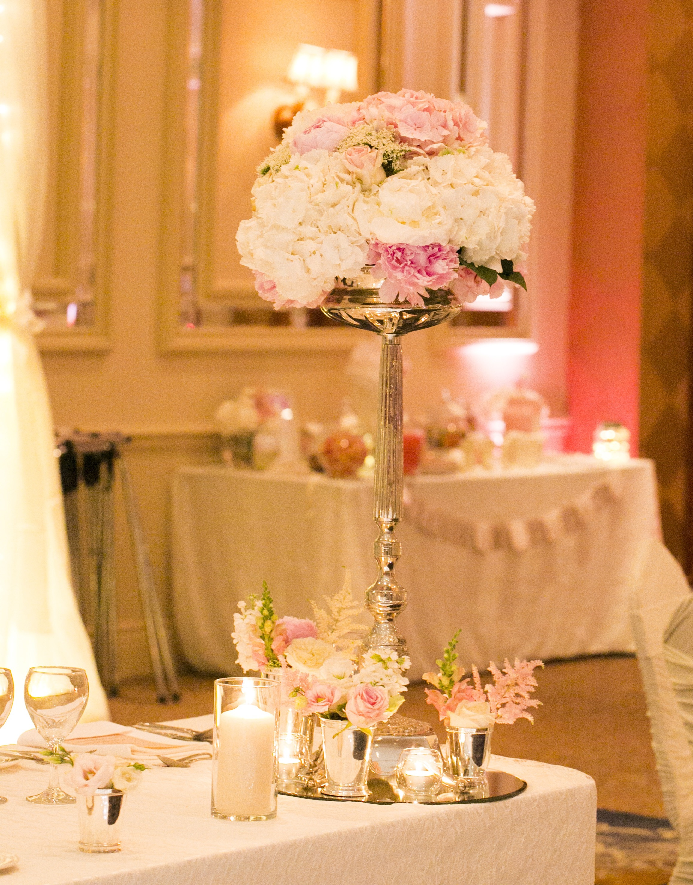Elegant Single Stemmed Floral Wedding Centerpieces With High Tealights (Image 7 of 12)