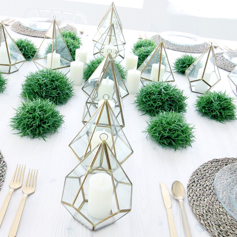 Geometric Terrarium Nonfloral Wedding Centerpiece (Image 15 of 35)