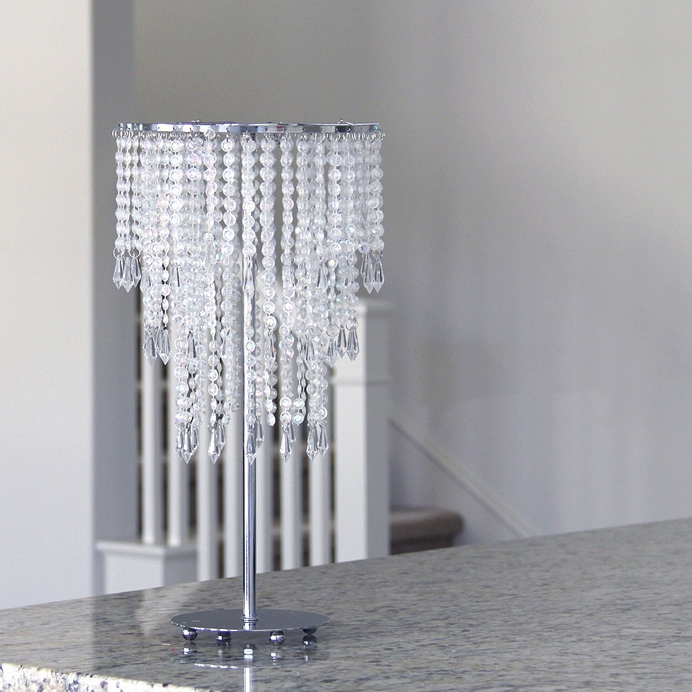 Glamorous Tabletop Chandelier With Diamond Shape Centerpiece (Image 17 of 35)