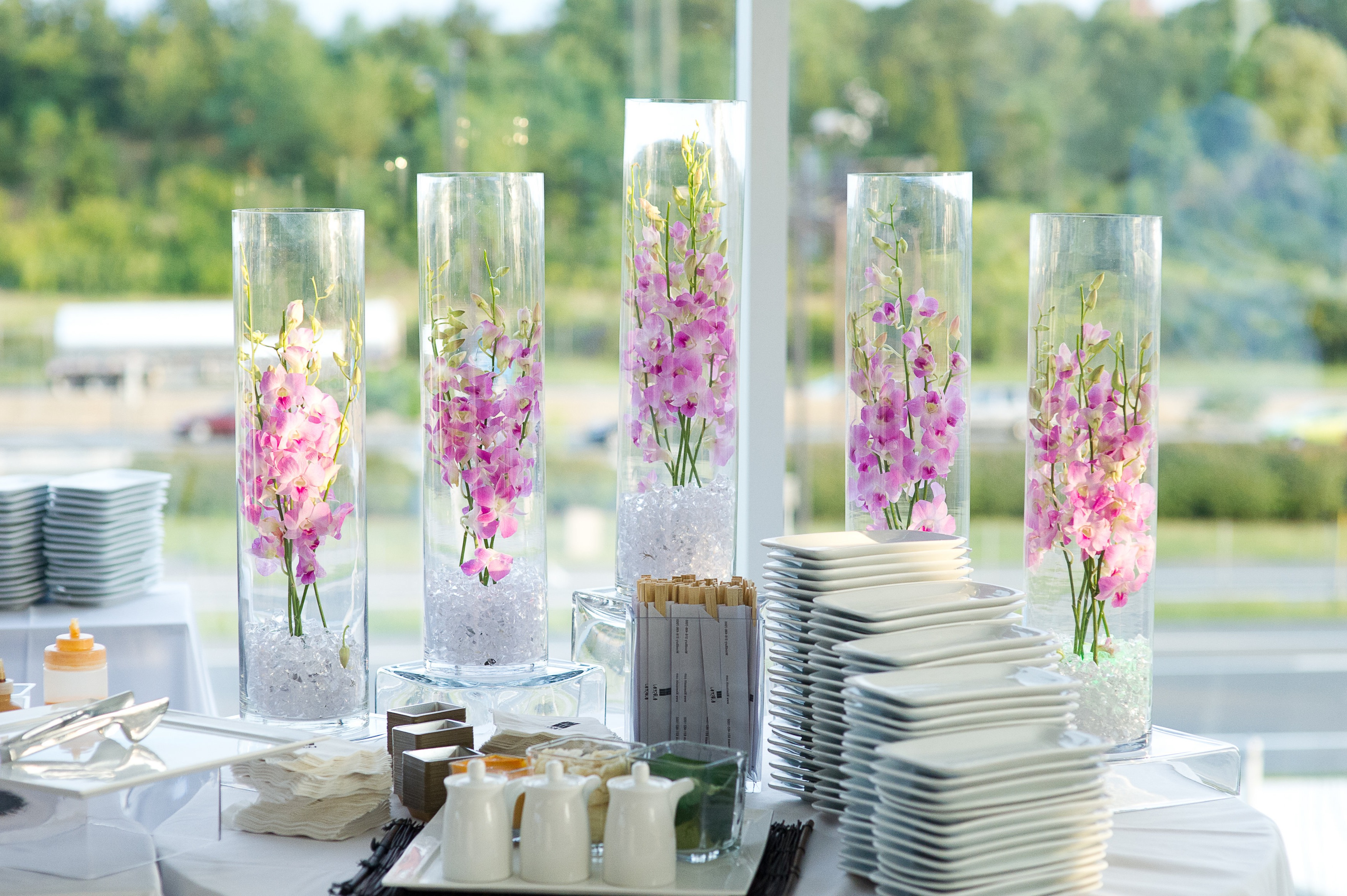 High Submerged Pink Flowers Wedding Centerpieces (Image 5 of 10)