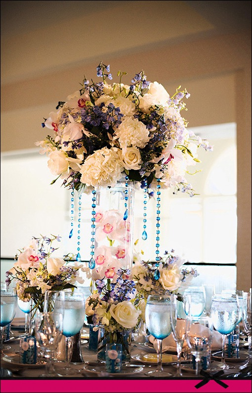 Inexpensive White And Blue Calla Lily Wedding Tall Centerpieces (Image 10 of 30)