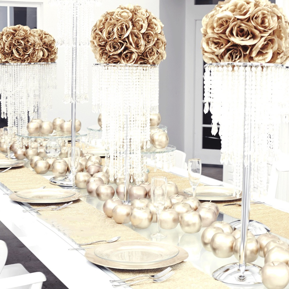 Gold Wedding Centerpiece Decorations: 35 Fabulous Non-Floral Centerpieces Ideas #19312