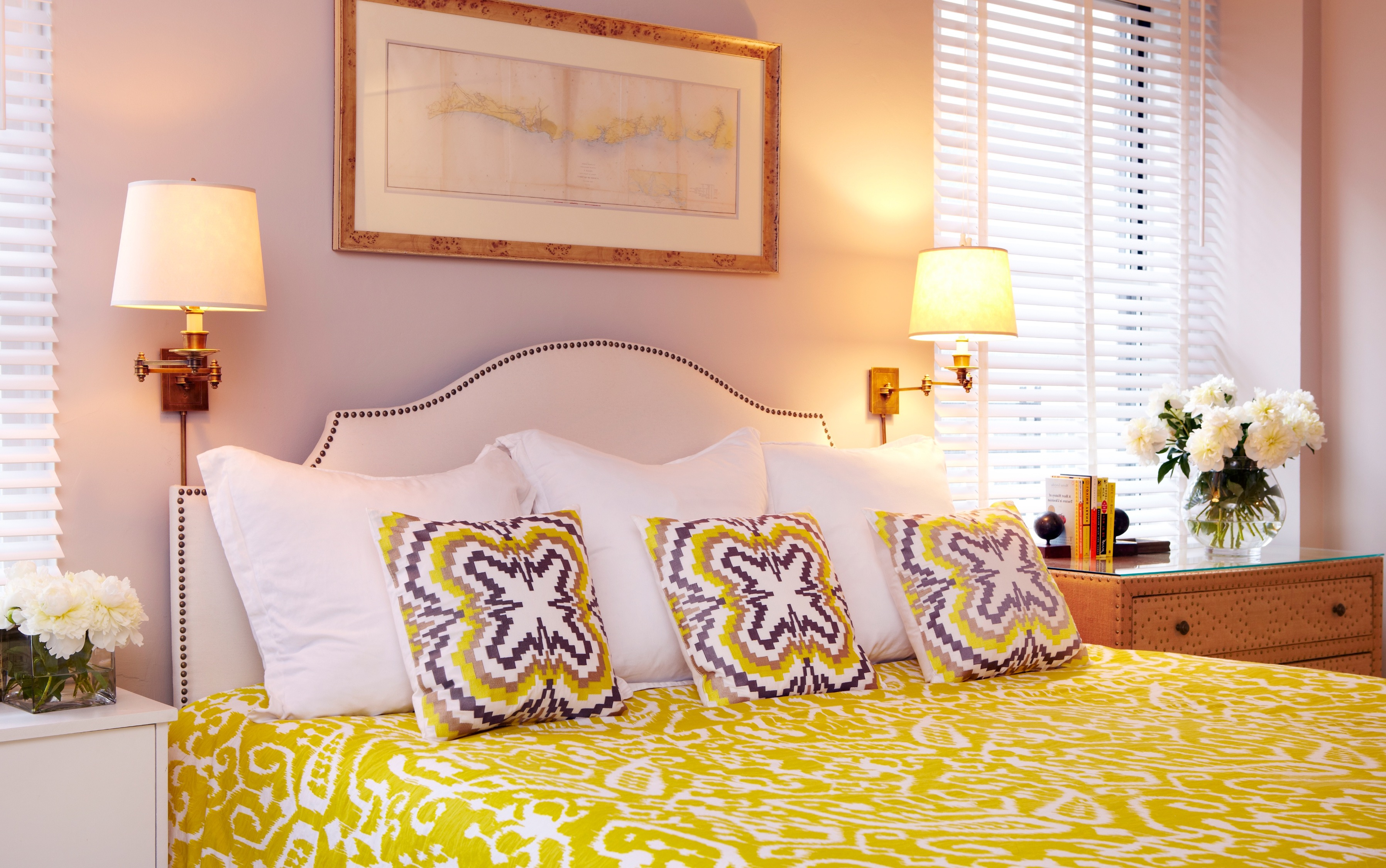 Modern Lighting For Hotel Like Bedroom With Vibrant Yellow Bedding (Image 23 of 25)