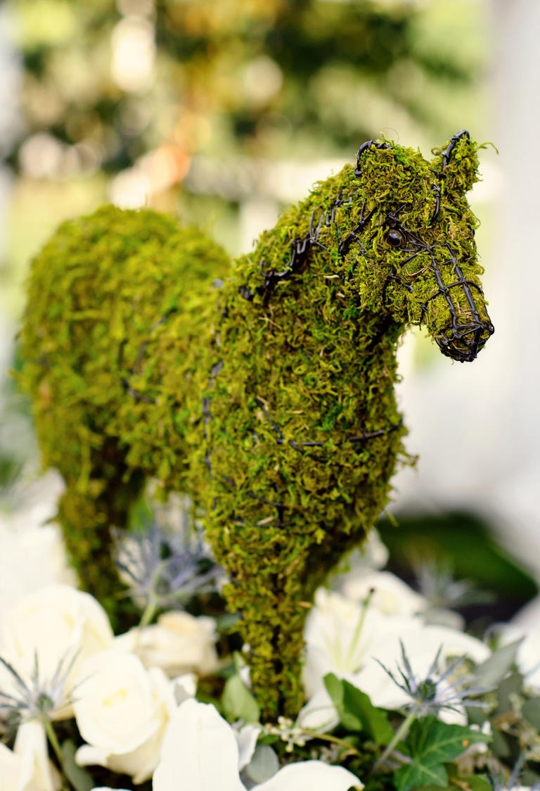 Nonfloral Wedding Centerpiece Moss Horse Topiary (Image 27 of 35)