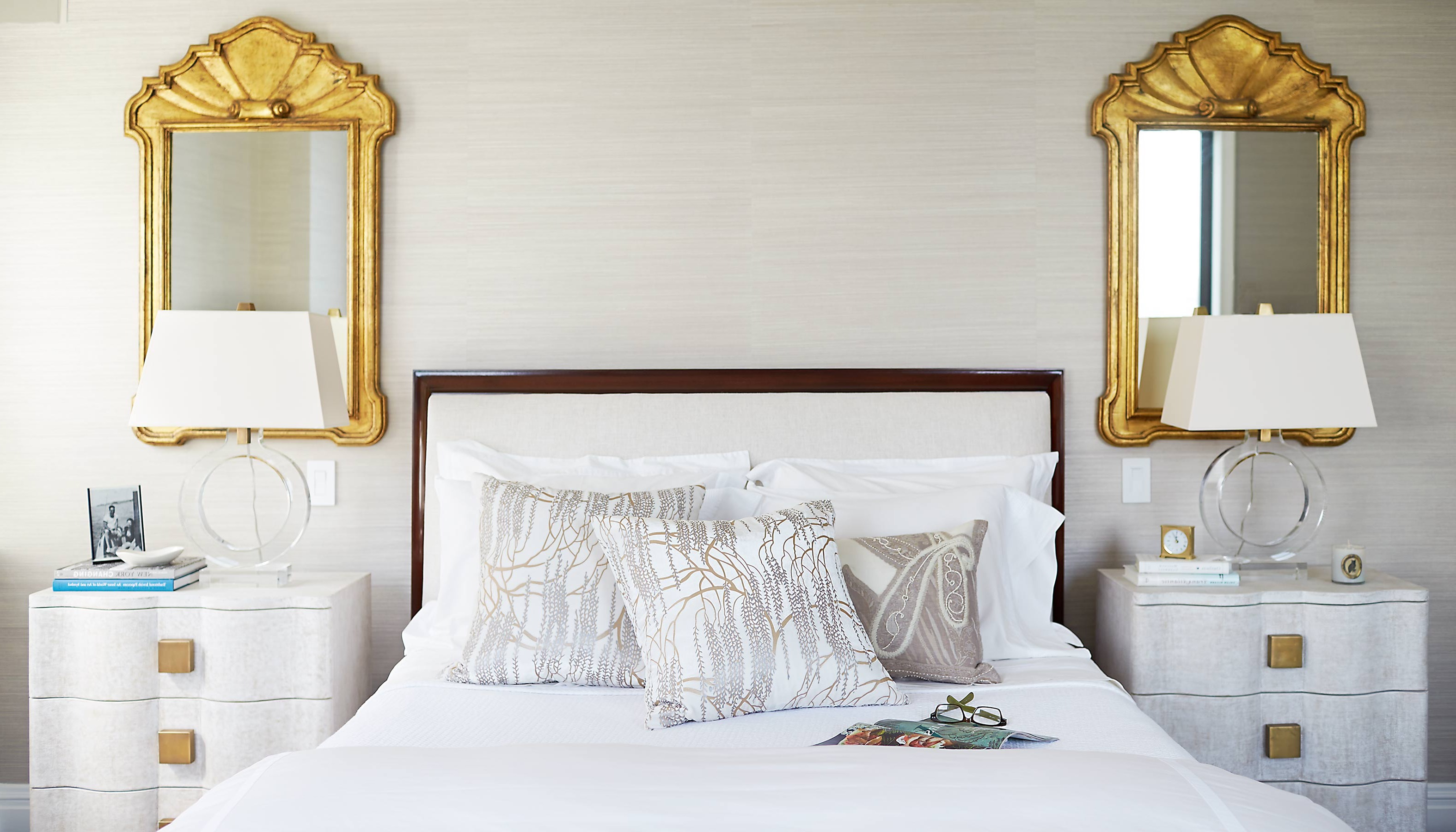 Pair Of Classic Gold Mirrors Placement For Modern Bedroom Design (Image 17 of 20)