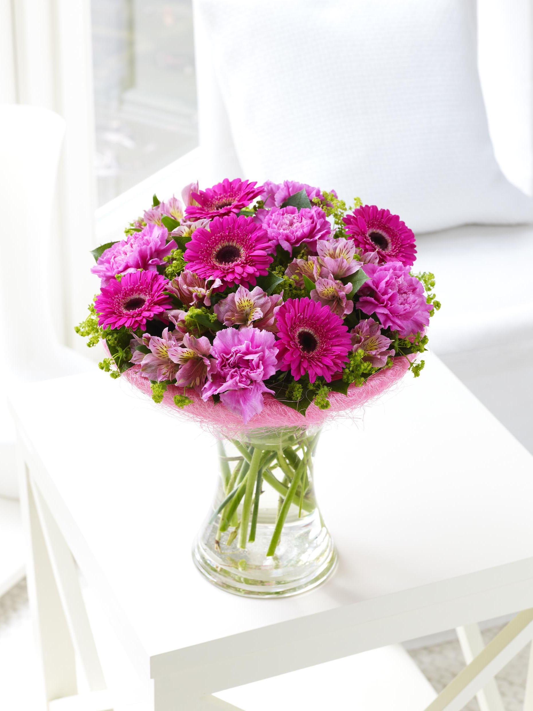 Pink Summer Flowers In Vase Wedding Centerpiece (Image 11 of 20)