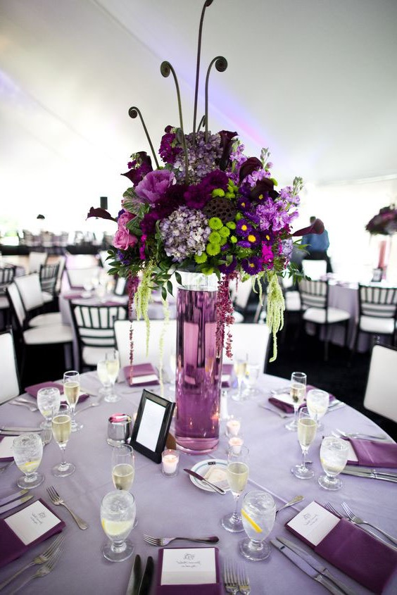 Purple Tall Flower Centerpieces For Wedding Party (Image 12 of 30)