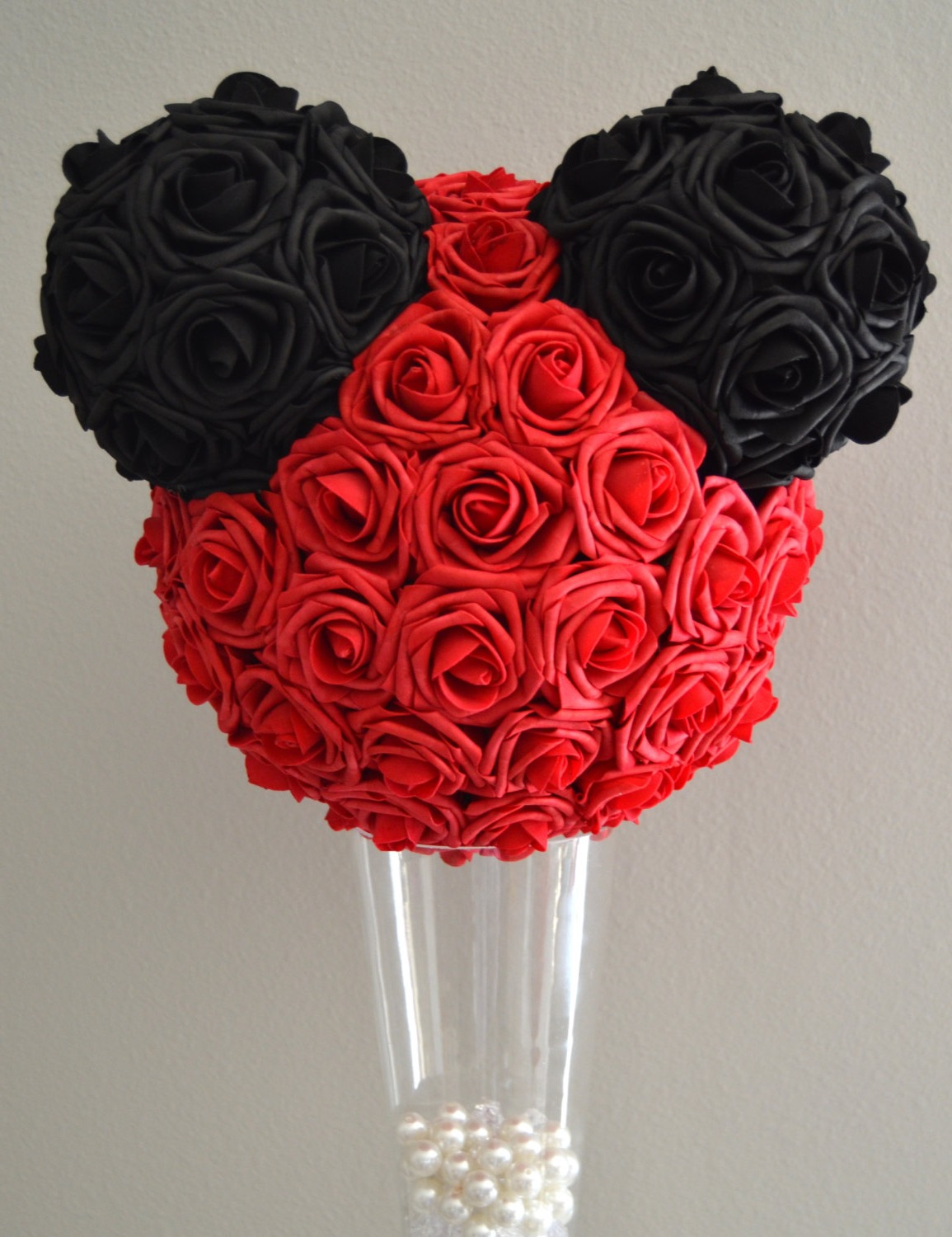 Red And Black Flower With Silver Pearl Centerpieces For Wedding (Image 5 of 15)