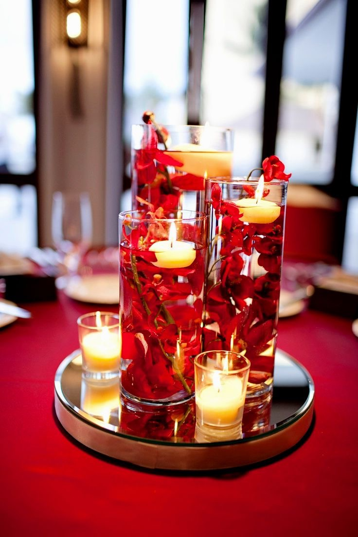 Red Floating Candle Wedding Centerpieces (Image 9 of 15)