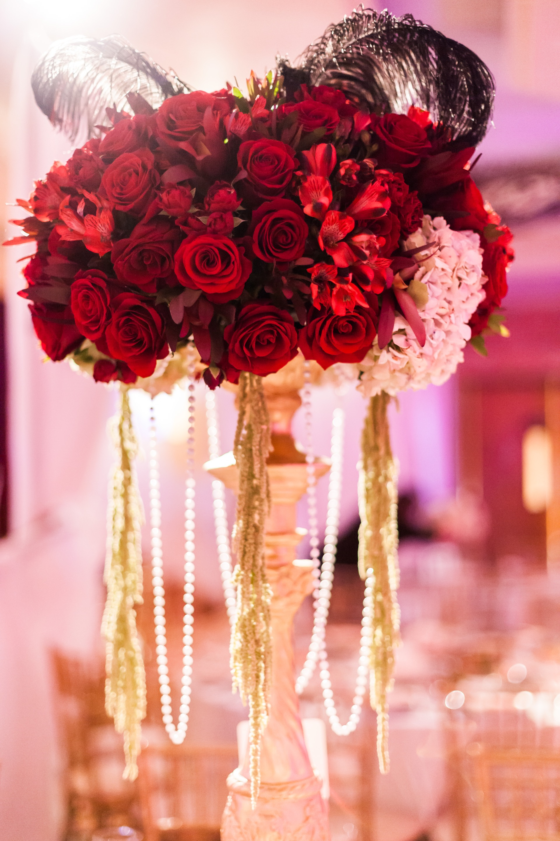 Red Theme Rose Centerpieces For Weddings (Image 12 of 15)
