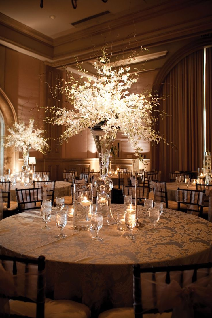 Tall Elegant Wedding Centerpiece With Lighting (Image 19 of 30)
