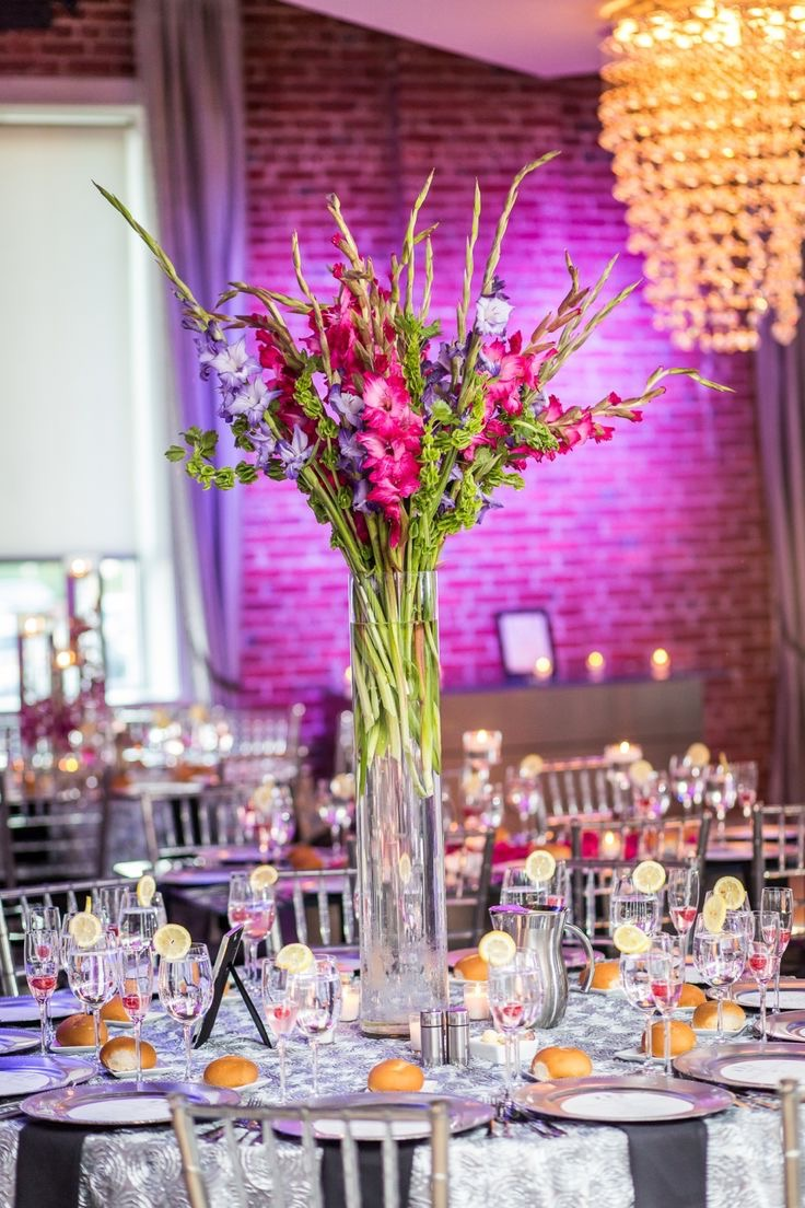 Tall Flower And Vase Centerpiece Decor In Green And Pink Wedding Theme (Image 15 of 15)