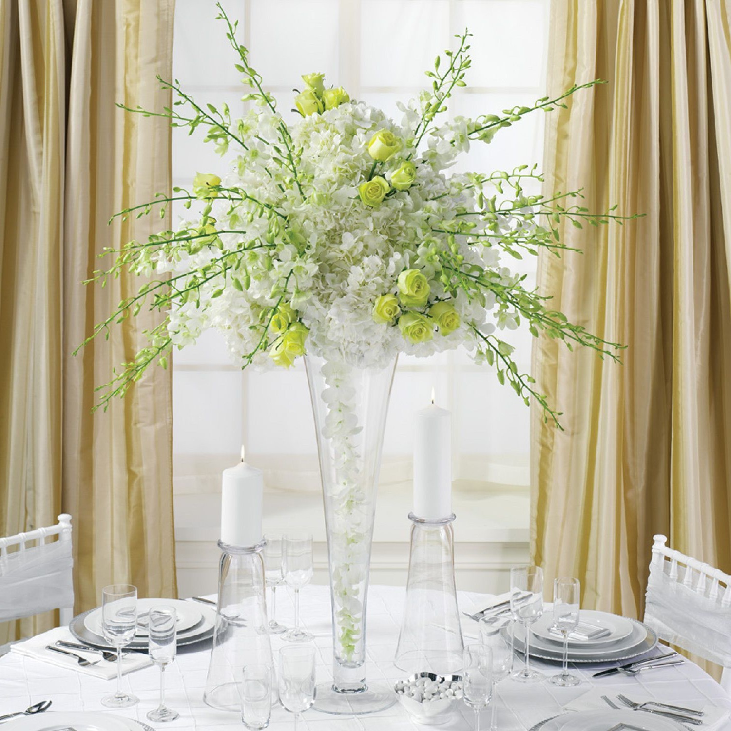 Tall Green And White Flower Centerpiece With Tall Glass Vase For Wedding (Image 21 of 30)