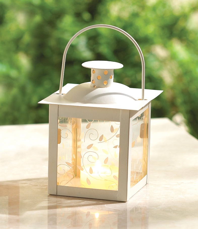 Unique Small White Lantern Ivory Glass Candleholder Wedding Summer Centerpieces (Image 19 of 20)