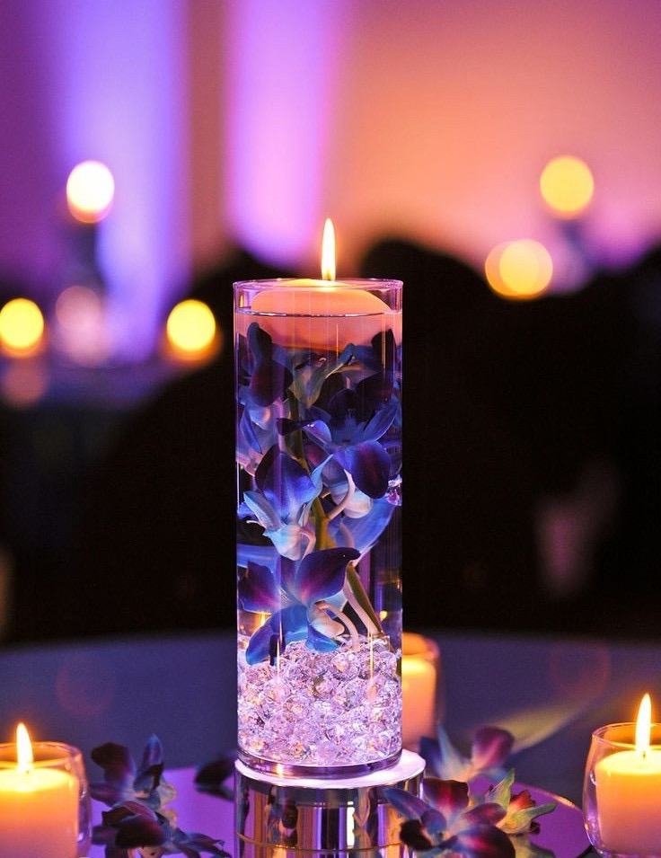 Wondeful Floating Candle With Flower And Crystal Centerpiece (Image 35 of 35)