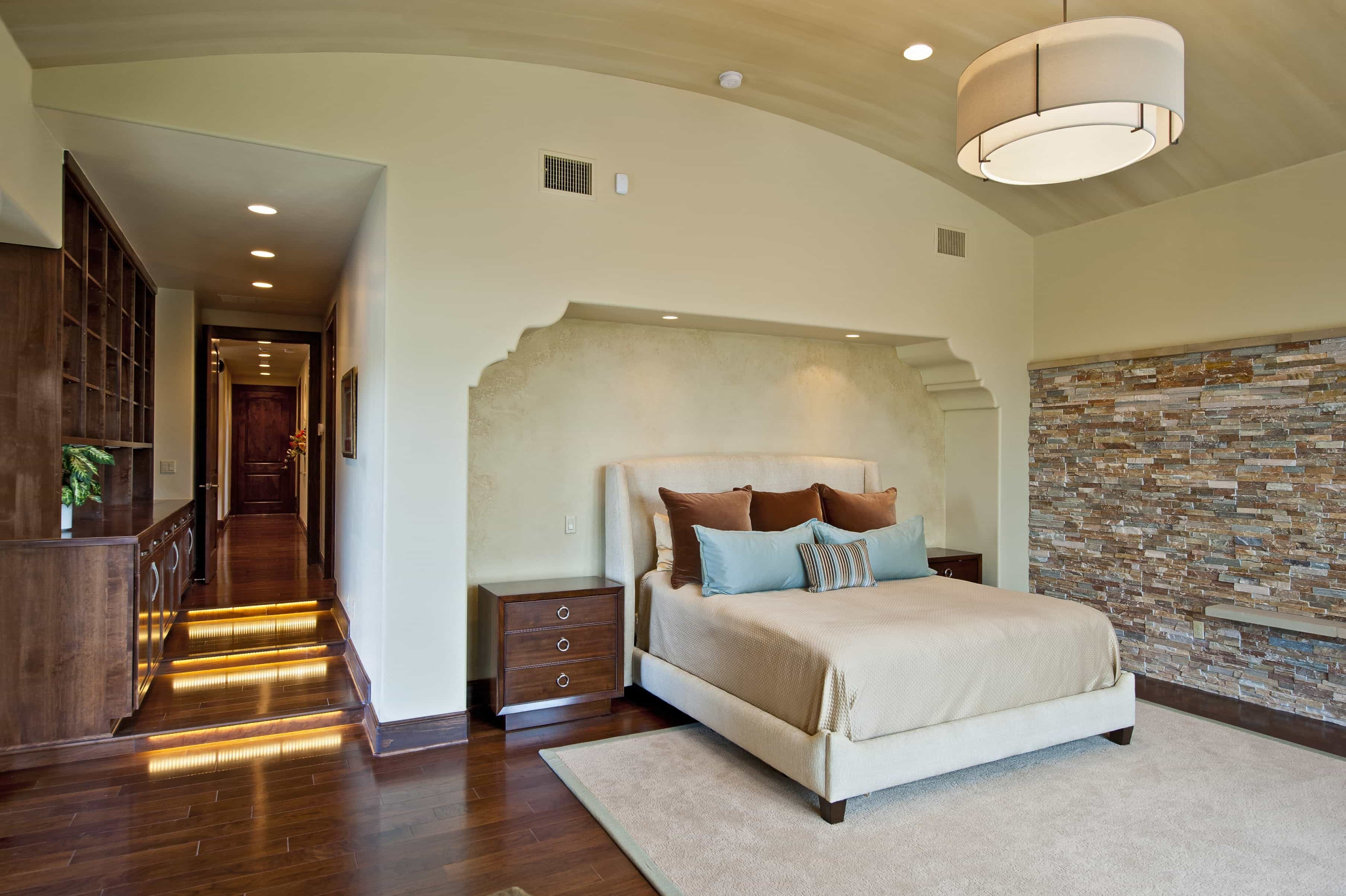2017 Contemporary Bedroom With Stone Accent Wall (Image 3 of 28)